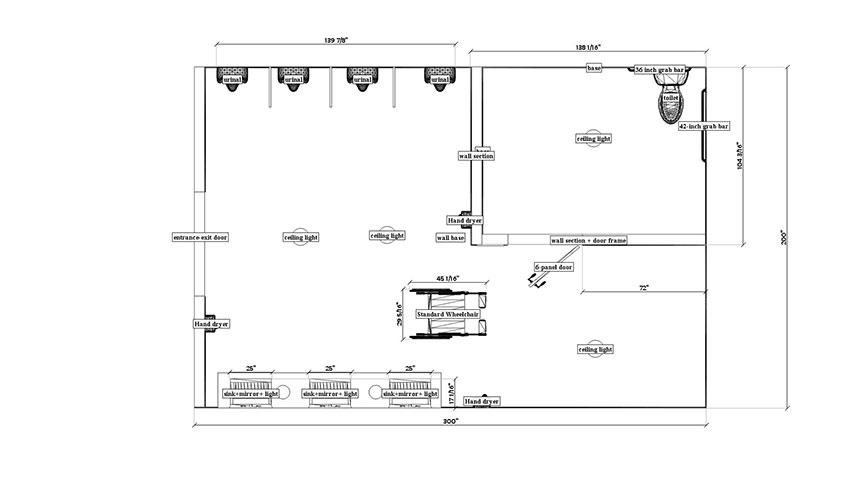 Bathroom design software for Ada compliant bathroom layout